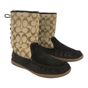 Coach Brown Frankie Signature C Fur Lined Boots